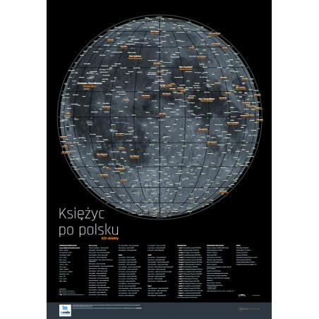 Księżyc po polsku - ukształtowanie powierzchni - 96 x 68 cm