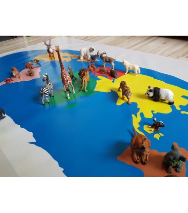 World Map - 200 x 135 - washable Montessori mat