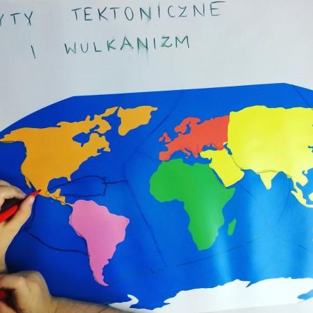 ZESTAW - mapa świata Montessori 65x50 cm + masa plastyczna Mundo + pisaki Jovi 6 sztuk