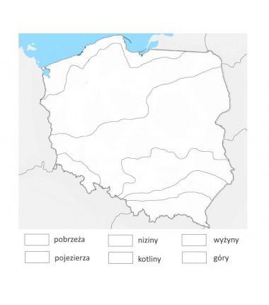 OKAZJA - Mapa Polski - krainy geograficzne - 65 x 50 cm - mata do kolorowania