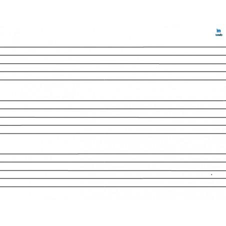 pięciolinia - zmywalna mata do nauki czytania i zapisu nut (potrójna) - 40 x 35 cm