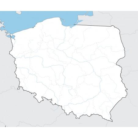 Mapa Polski - 65x50 cm - mapa z 20 najdłuższymi rzekami i granicami województw jako punkt odniesienia