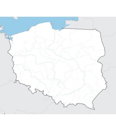 Mapa Polski - 130 x 100 cm - mapa z 20 najdłuższymi rzekami i granicami województw jako punkt odniesienia
