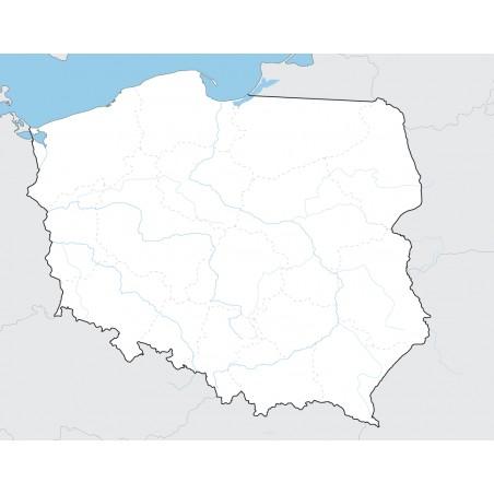 Mapa Polski - 65x50 cm - mapa z 10 najdłuższymi rzekami i granicami województw jako punkt odniesienia
