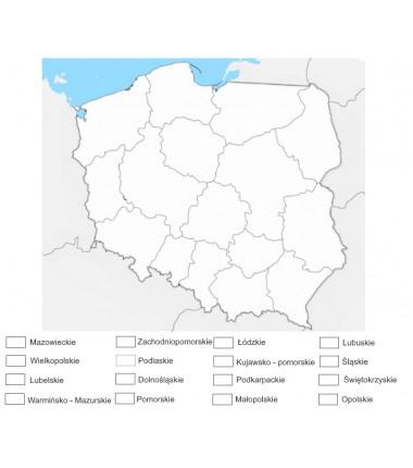 Mapa Polski - 65 x 50 cm - mapa administracyjna do kolorowania, tło