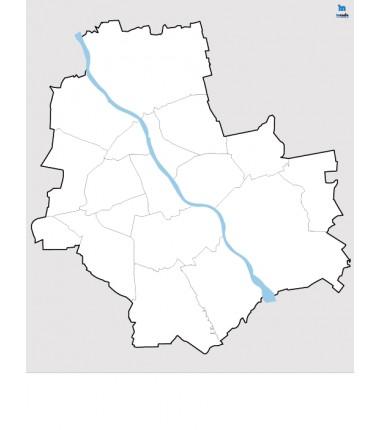 Warszawa - konturowa mapa dzielnic - 65x50 cm