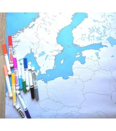 zmywalne flamastry Crayola - zestaw 12 sztuk w lnianym piórniku