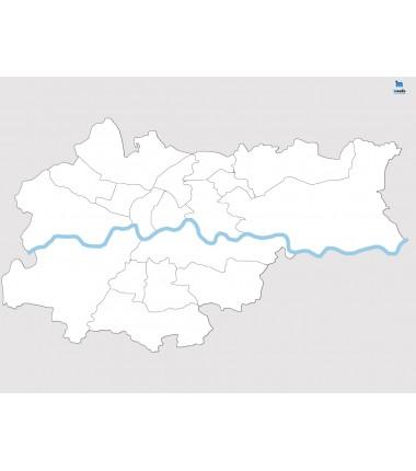 Kraków - konturowa mapa dzielnic - 65x50 cm