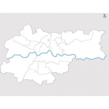 Kraków - konturowa mapa dzielnic - 130 x 100 cm