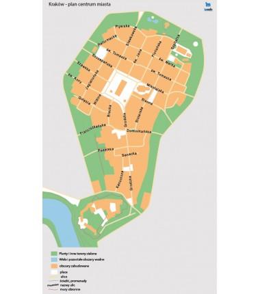 Kraków - plan centrum miasta - 67 x 40 cm