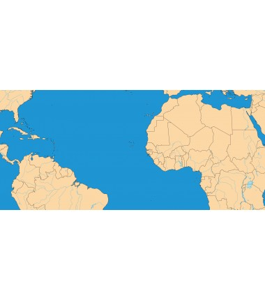 Polityczna Mapa Świata + rzeki i jeziora - 135 x 80 cm