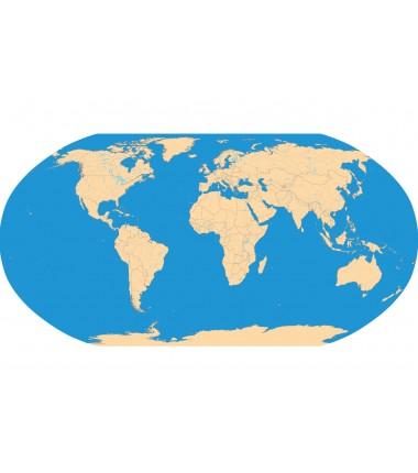 Polityczna Mapa Świata + rzeki i jeziora - 40x67 cm