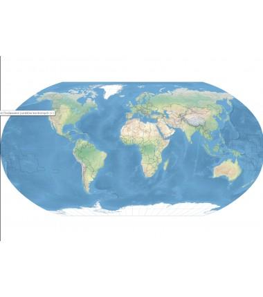 Mapa świata 135 x 80 cm - siatka kartograficzna, podział polityczny, stolice