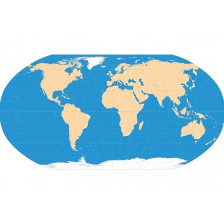 Mapa świata konturowa 65x50 cm - siatka kartograficzna