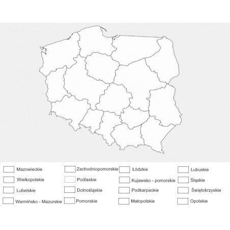 Poland - Administrative washable map for coloring - 65 x 50 cm