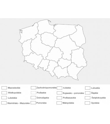 Poland - administrative washable map for coloring - 130 x 100 cm
