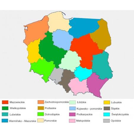 Mapa Polski - 50 x 65 cm - mapa administracyjna kolor, legenda