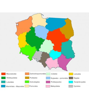 Poland - administrative wahsable map in colour - 130x100 cm