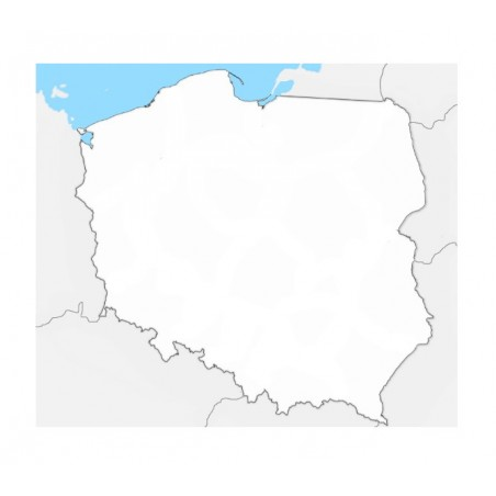 Mapa Polski - 50 x 65 cm - mapa konturowa, tło