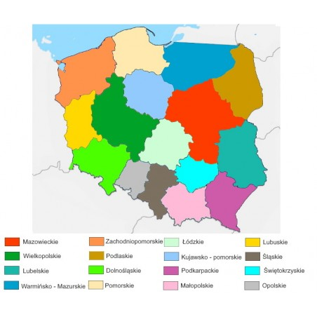 Mapa Polski - 65 x 50 cm - mapa administracyjna kolor, tło