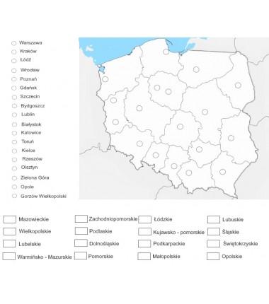 Mapa Polski - 65 x 50 cm - województwa i ich stolice, mapa do kolorowania