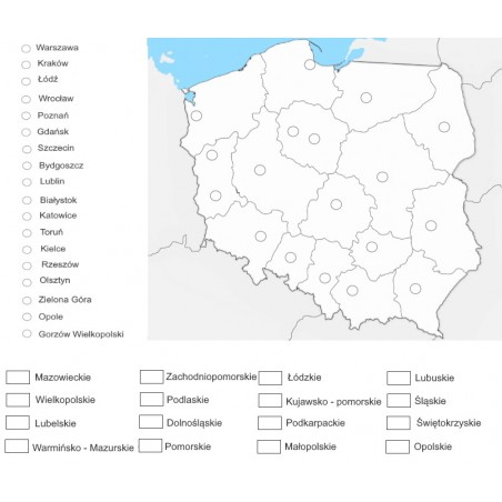 Poland - VOIVODESHIPS AND THEIR CAPITALS - washable map - 65x50 cm