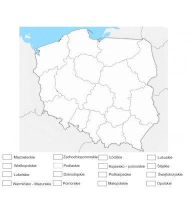 Poland - administrative washable map for colouring - 130x100 cm