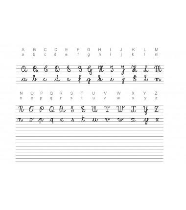 "Włoski alfabet pisany ""corsivo 2"" - mata do nauki pisania - 65 x 50 cm"