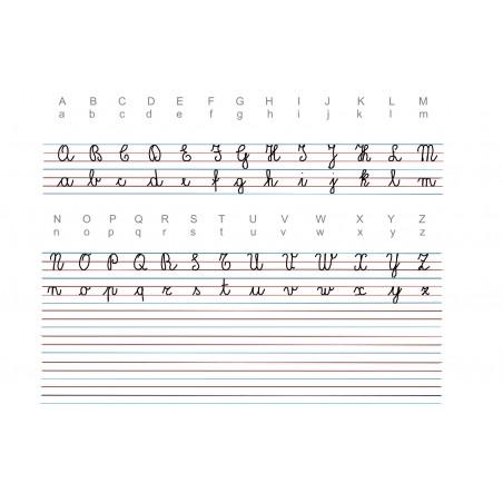 """Włoski alfabet pisany """"corsivo 2"""" - mata do nauki pisania, linie pomocnicze - 65 x 50 cm"""