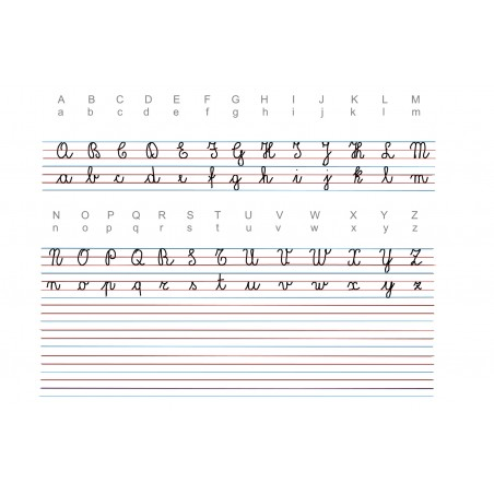 "Italian alphabet ""corsivo 2"" - writing mat, help lines - 65 x 50 cm"