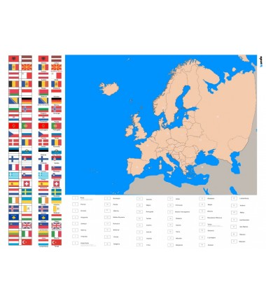 Europe - political washable map 130x100 cm + FLAGS + legenda