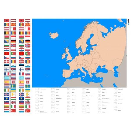 Europa - 130 x 100 cm - mapa polityczna + FLAGI + legenda