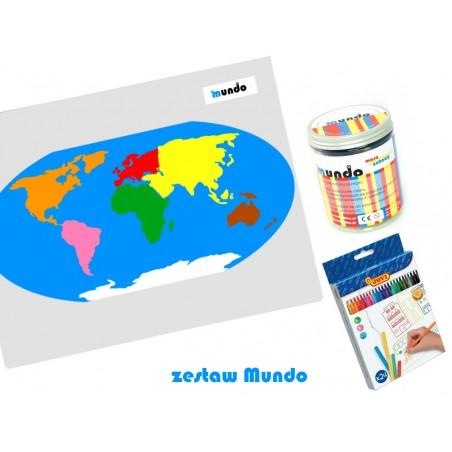 ZESTAW - mapa świata Montessori 65x50 cm + masa plastyczna Mundo + pisaki Jovi 24 sztuki
