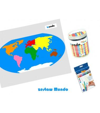 ZESTAW - mapa świata Montessori 65x50 cm + masa plastyczna Mundo + pisaki Jovi 12 sztuk