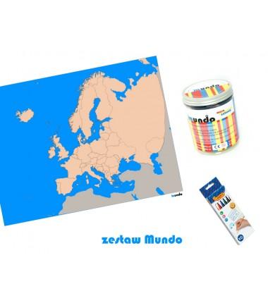ZESTAW - Europa mapa polityczna konturowa 65x50 cm + masa plastyczna Mundo + pisaki Jovi 6 sztuk