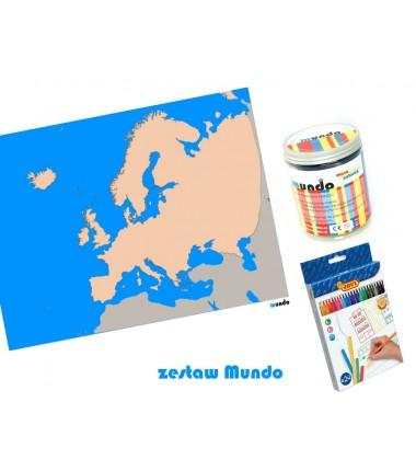 ZESTAW - Europa szczegółowa mapa konturowa130x100 cm + masa plastyczna Mundo + pisaki Jovi 24 sztuki