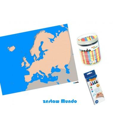 ZESTAW - Europa szczegółowa mapa konturowa130x100 cm + masa plastyczna Mundo + pisaki Jovi 6 sztuk
