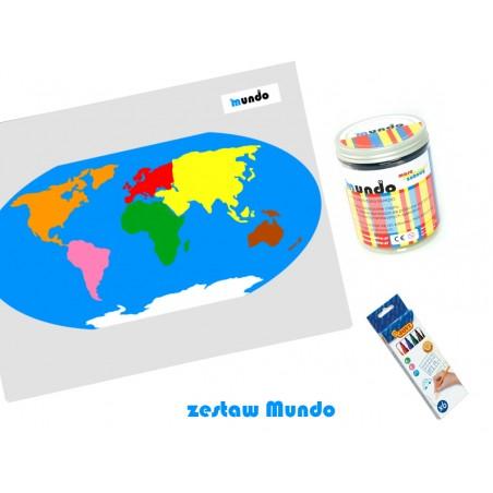 ZESTAW - mapa świata Montessori 130x100 cm + masa plastyczna Mundo + pisaki Jovi 6 sztuk