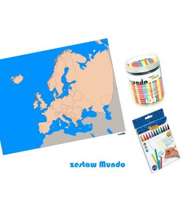 ZESTAW - Europa mapa polityczna konturowa 65x50 cm + masa plastyczna Mundo + pisaki Jovi 24 sztuki