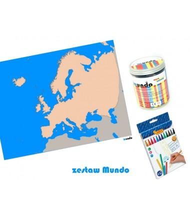 ZESTAW - Europa szczegółowa mapa konturowa 130 x 100 cm + masa plastyczna Mundo + pisaki Jovi 12 sztuk