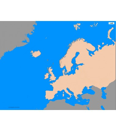 Europa - 65 x 50 cm - mapa konturowa
