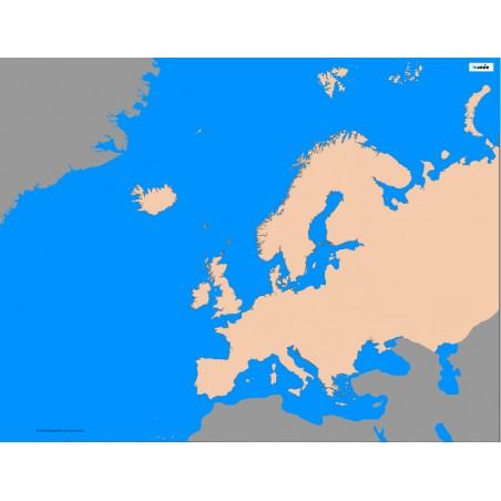 Europa - 135 x 80 cm - mapa konturowa, granica geograficzna