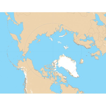 Arktyka - mapa konturowa 65x50