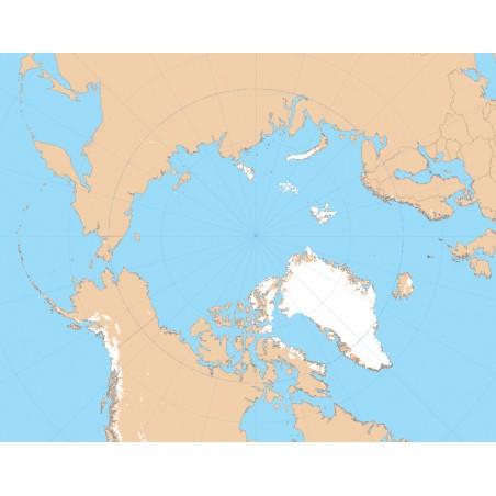 Arktyka - mapa konturowa 65x50  cm, z siatką kartograficzną