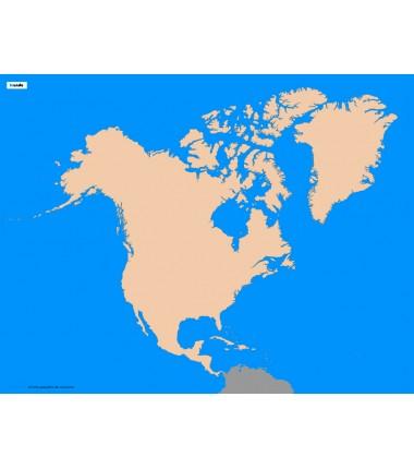 Ameryka Północna - 50 x 65 - mapa konturowa, granica geograficzna