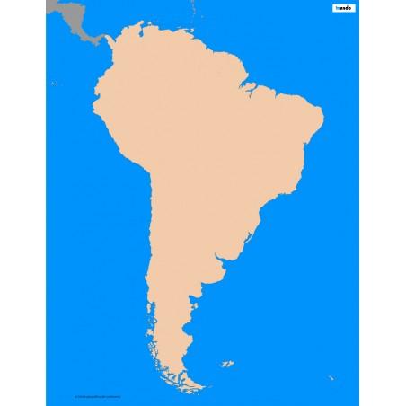 Ameryka Południowa - 50 x 65 cm - mapa konturowa, granica geograficzna