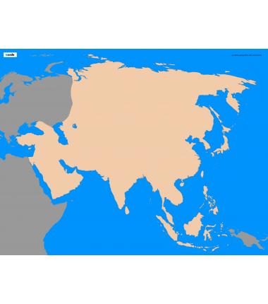 Azja - 50 x 65 cm - mapa konturowa, granica geograficzna