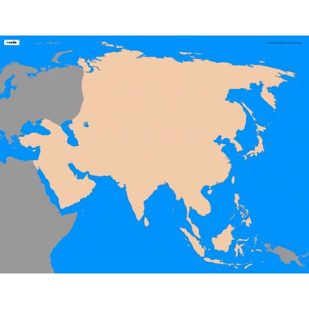 Asia - washable contour map - 65 x 50 cm