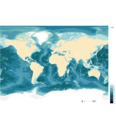 Batygraficzna mapa mórz i oceanów - 40 x 67 cm
