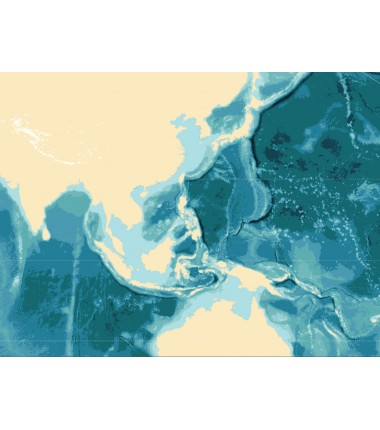 Batygraficzna mapa mórz i oceanów - 135 x 80 cm
